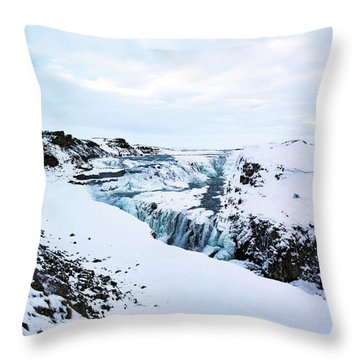 Cold Winter Day At Gullfoss, Iceland Throw Pillow
