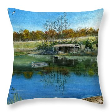Throw Pillow featuring the painting Cole Hill Pond by Melly Terpening