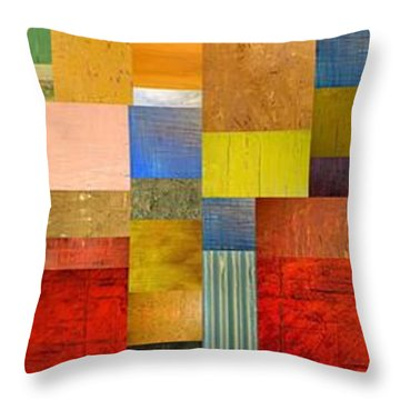 Color Panels With Green Grass Throw Pillow by Michelle Calkins