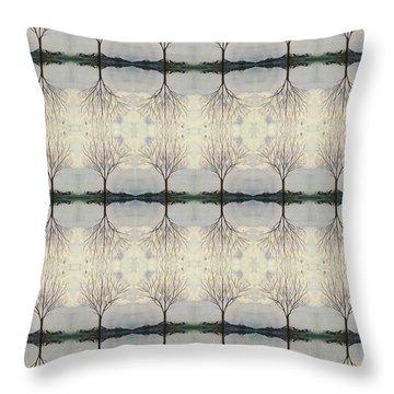Colorado Cottonwood Tree Mirror Image  Throw Pillow