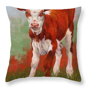 Throw Pillow featuring the painting Colorful Calf by Margaret Stockdale
