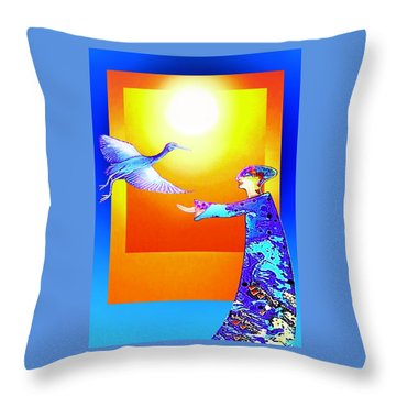 Colorful Friends Throw Pillow by Hartmut Jager