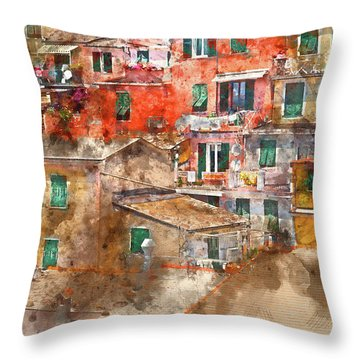 Colorful Homes In Cinque Terre Italy Throw Pillow