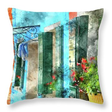 Colorful Houses In Burano Island Venice Italy Throw Pillow