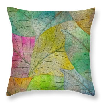 Throw Pillow featuring the digital art Colorful Leaves by Klara Acel