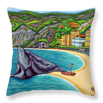 Colours Of Monterosso Throw Pillow by Lisa  Lorenz