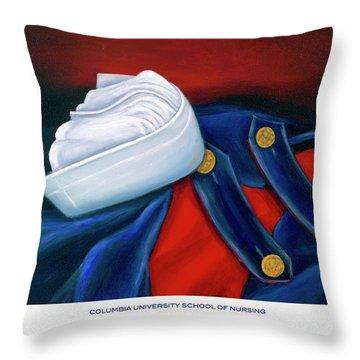 Columbia University School Of Nursing Throw Pillow by Marlyn Boyd