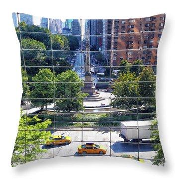 Columbus Circle Throw Pillow by Mitch Cat