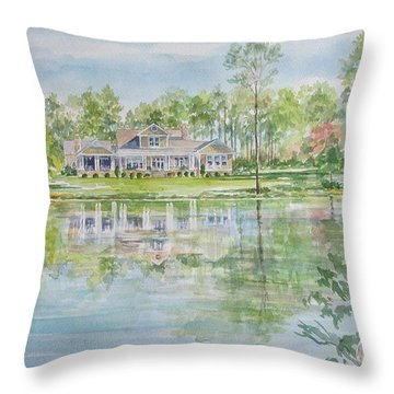 Commissioned Home Portrait Throw Pillow
