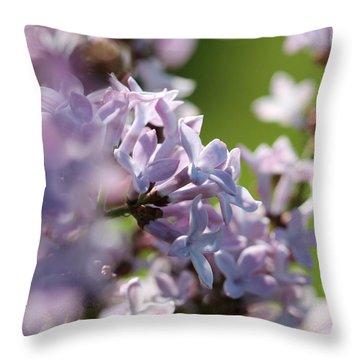 Common Purple Lilac Throw Pillow