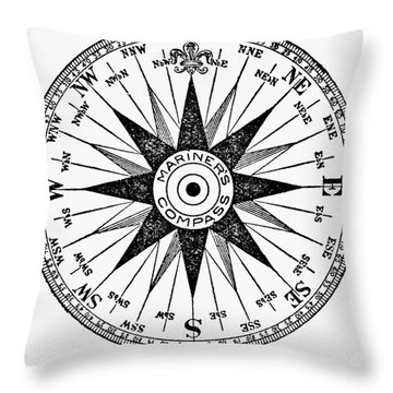 Compass Rose Throw Pillow by Granger