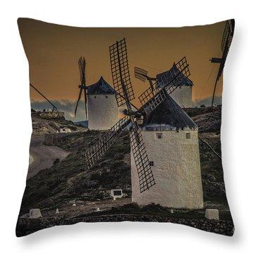 Throw Pillow featuring the photograph Consuegra Windmills 2 by Heiko Koehrer-Wagner