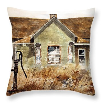 Water Pump Throw Pillow by Monte Toon