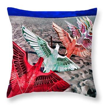 Copacabana Kites Throw Pillow by Dennis Cox WorldViews