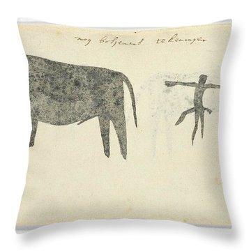 Copies After San Rock-paintings Of An Ox, A Baboon, And A Man, Robert Jacob Gordon, 1777 Throw Pillow