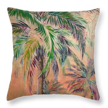 Copper Trio Of Palms Throw Pillow by Kristen Abrahamson