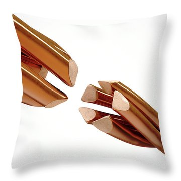 Copper Wire Strands Disconnected Throw Pillow