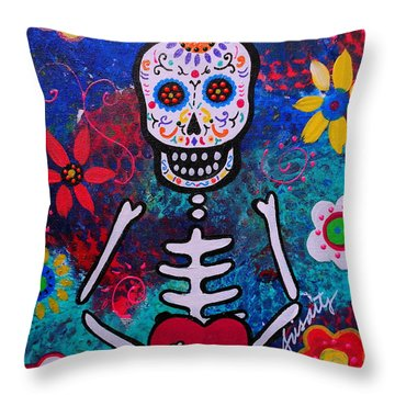 Corazon Day Of The Dead Throw Pillow by Pristine Cartera Turkus