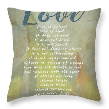 1 Corinthians 13 4-8 Love Is Patient Love Is Kind Wedding Verses. Great Gift For Men Or Home Decor. Throw Pillow