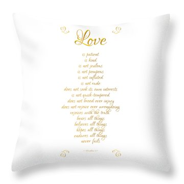 Throw Pillow featuring the digital art 1 Corinthians 13 Love Is White Background by Rose Santuci-Sofranko