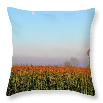 Cornfield Moonset Throw Pillow