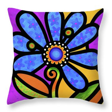 Cosmic Daisy In Blue Throw Pillow