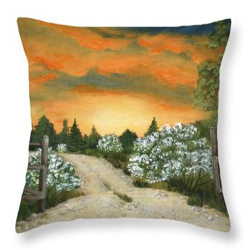 Throw Pillow featuring the painting Country Road by Anastasiya Malakhova
