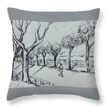 Country Road Throw Pillow by Hae Kim