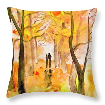 Couple On Autumn Alley, Painting Throw Pillow