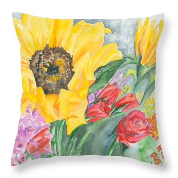 Courtney's Sunflower Throw Pillow by Kimberly Lavelle