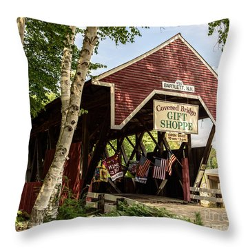 Covered Bridge Gift Shoppe Throw Pillow by Sherman Perry