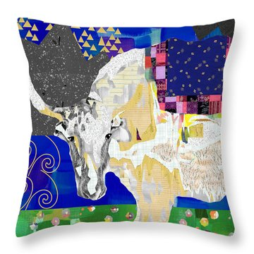 Stay Curious Cow Collage  Throw Pillow by Claudia Schoen