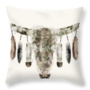 Cow Skull Throw Pillow