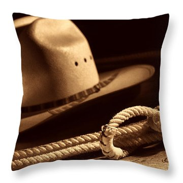Cowboy Hat And Lasso Throw Pillow