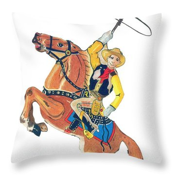Cowboy With Lasso Throw Pillow
