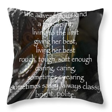 Cowgirl Attitude Throw Pillow by Gwyn Newcombe