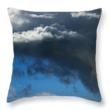 Cows Grazing Under Dramatic Clouds Throw Pillow by Wernher Krutein
