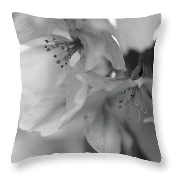 Crabapple Blossom Black And White Throw Pillow
