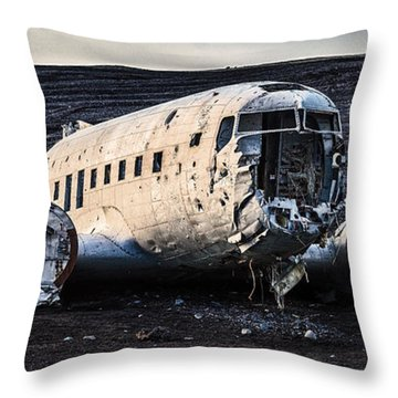 Crashed Dc-3 Throw Pillow