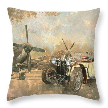 Cream Cracker Mg 4 Spitfires  Throw Pillow by Peter Miller