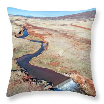 creek at  Colorado foothills - aerial view Throw Pillow