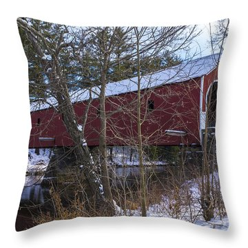 Cresson Covered Bridge. Throw Pillow