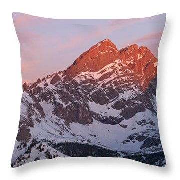 Throw Pillow featuring the photograph Crestone Sunrise Panorama by Aaron Spong