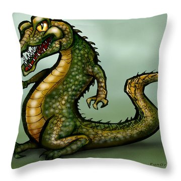 Crocodile Throw Pillow by Kevin Middleton