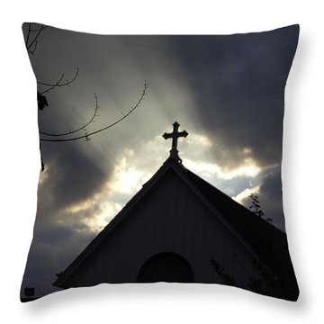 Cross In Sun Rays Throw Pillow by Debra Crank