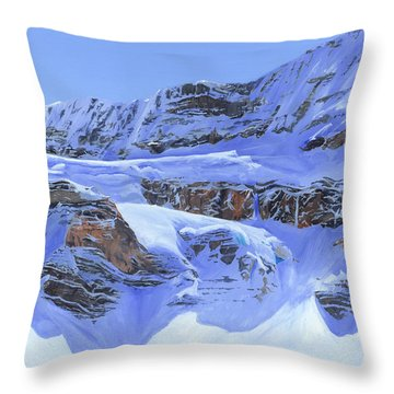 Crowfoot Glacier Throw Pillow by Glen Frear