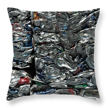 Crushed Cans Throw Pillow