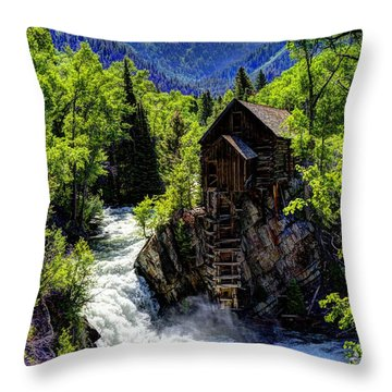Crystal Mill Near Marble Throw Pillow by Jean Hutchison