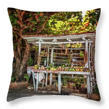 Throw Pillow featuring the photograph Cuban Fruit Stand by Joan Carroll