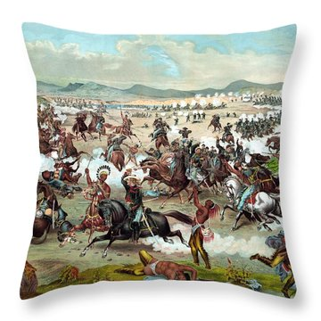 Throw Pillow featuring the painting Custer's Last Stand by War Is Hell Store